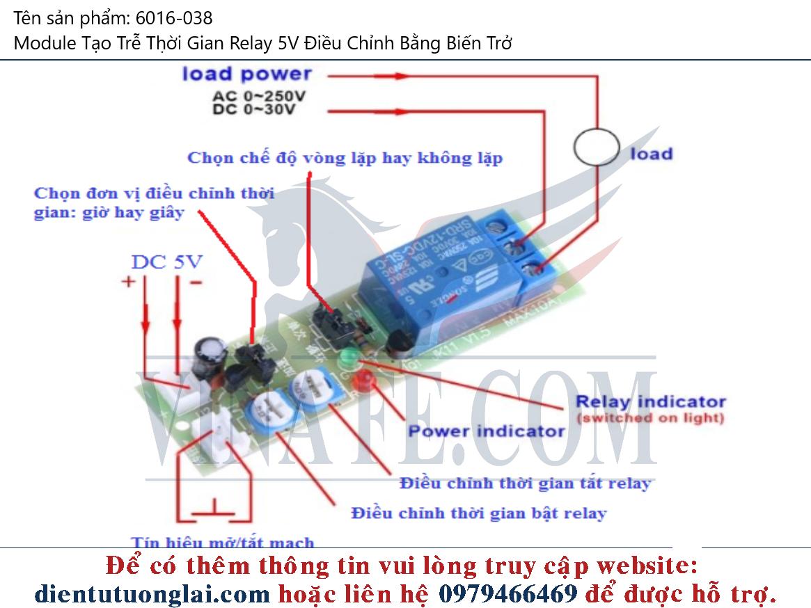Module Tạo Trễ Thời Gian Relay 5V Điều Chỉnh Bằng Biến Trở